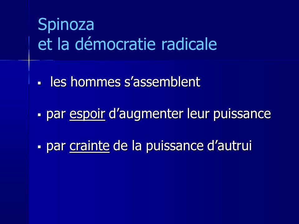 Spinoza et la démocratie radicale les hommes sassemblent les hommes sassemblent par espoir daugmenter leur puissance par espoir daugmenter leur puissance par crainte de la puissance dautrui par crainte de la puissance dautrui