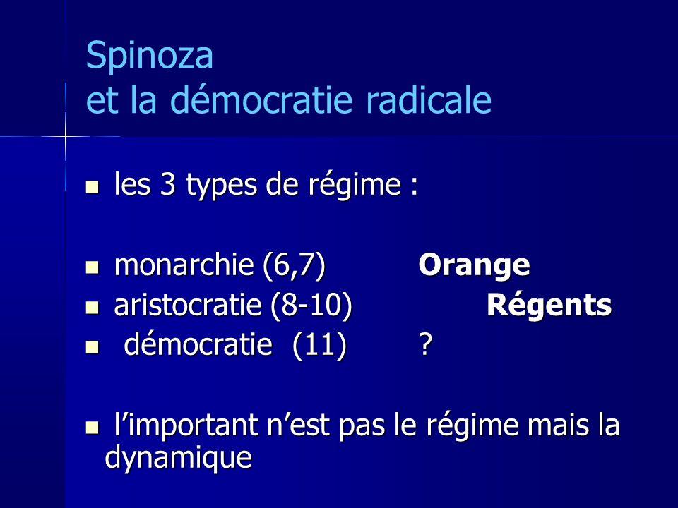 Spinoza et la démocratie radicale les 3 types de régime : les 3 types de régime : monarchie (6,7) Orange monarchie (6,7) Orange aristocratie (8-10)Régents aristocratie (8-10)Régents démocratie (11).