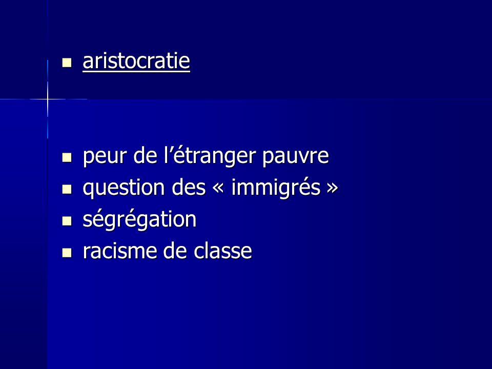 aristocratie aristocratie peur de létranger pauvre peur de létranger pauvre question des « immigrés » question des « immigrés » ségrégation ségrégation racisme de classe racisme de classe