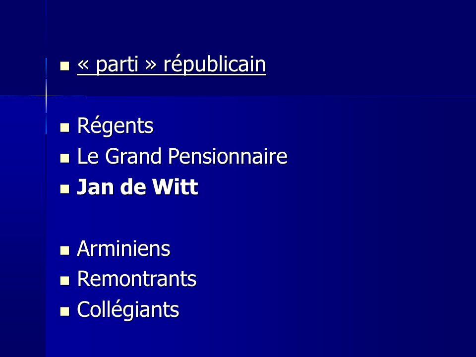« parti » républicain « parti » républicain Régents Régents Le Grand Pensionnaire Le Grand Pensionnaire Jan de Witt Jan de Witt Arminiens Arminiens Remontrants Remontrants Collégiants Collégiants