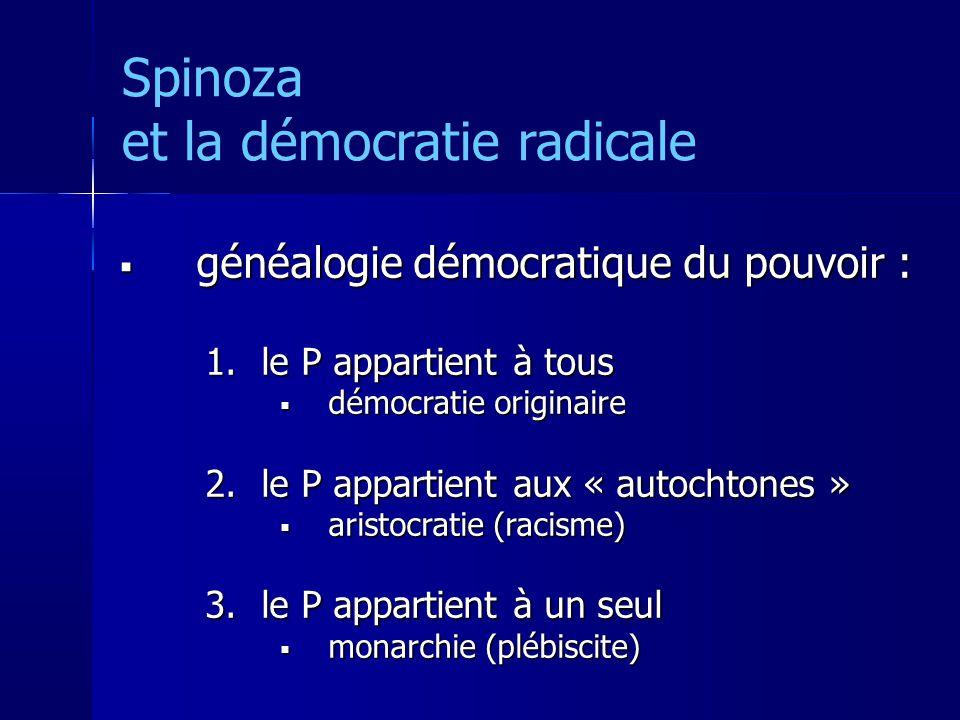 Spinoza et la démocratie radicale généalogie démocratique du pouvoir : généalogie démocratique du pouvoir : 1.le P appartient à tous démocratie originaire démocratie originaire 2.le P appartient aux « autochtones » aristocratie (racisme) aristocratie (racisme) 3.le P appartient à un seul monarchie (plébiscite) monarchie (plébiscite)