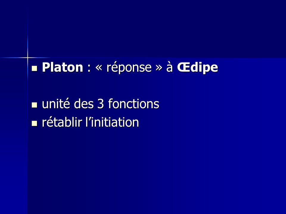 Platon : « réponse » à Œdipe Platon : « réponse » à Œdipe unité des 3 fonctions unité des 3 fonctions rétablir linitiation rétablir linitiation