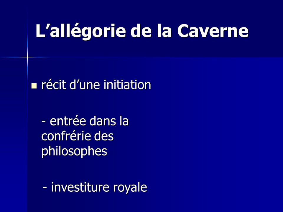 Lallégorie de la Caverne récit dune initiation récit dune initiation - entrée dans la confrérie des philosophes - investiture royale - investiture royale
