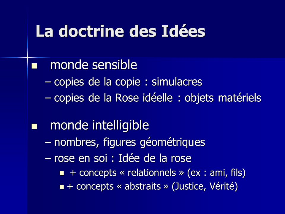 monde sensible monde sensible –copies de la copie : simulacres –copies de la Rose idéelle : objets matériels monde intelligible monde intelligible –no