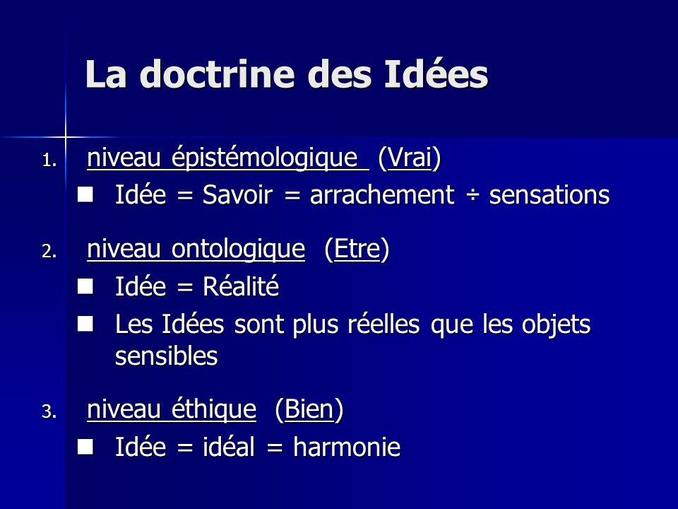 1. niveau épistémologique (Vrai) Idée = Savoir = arrachement ÷ sensations Idée = Savoir = arrachement ÷ sensations 2. niveau ontologique (Etre) Idée =