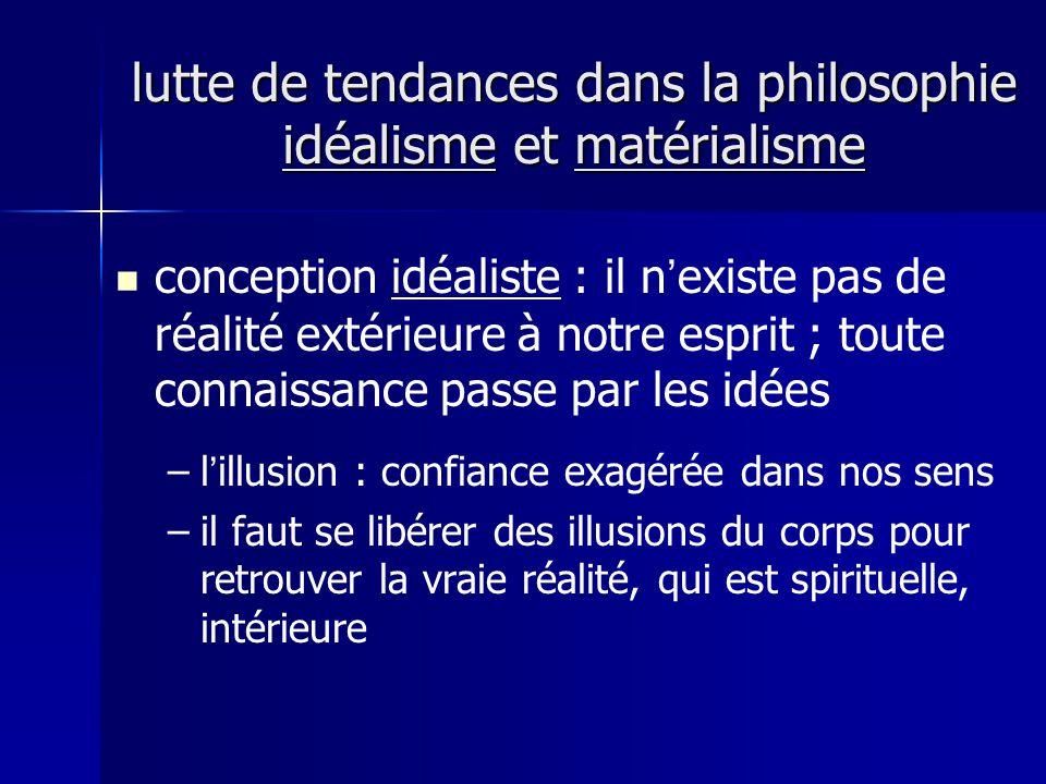 conception idéaliste : il nexiste pas de réalité extérieure à notre esprit ; toute connaissance passe par les idées – –lillusion : confiance exagérée dans nos sens – –il faut se libérer des illusions du corps pour retrouver la vraie réalité, qui est spirituelle, intérieure lutte de tendances dans la philosophie idéalisme et matérialisme