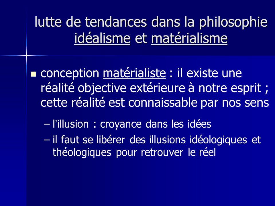 conception matérialiste : il existe une réalité objective extérieure à notre esprit ; cette réalité est connaissable par nos sens – –lillusion : croyance dans les idées – –il faut se libérer des illusions idéologiques et théologiques pour retrouver le réel lutte de tendances dans la philosophie idéalisme et matérialisme