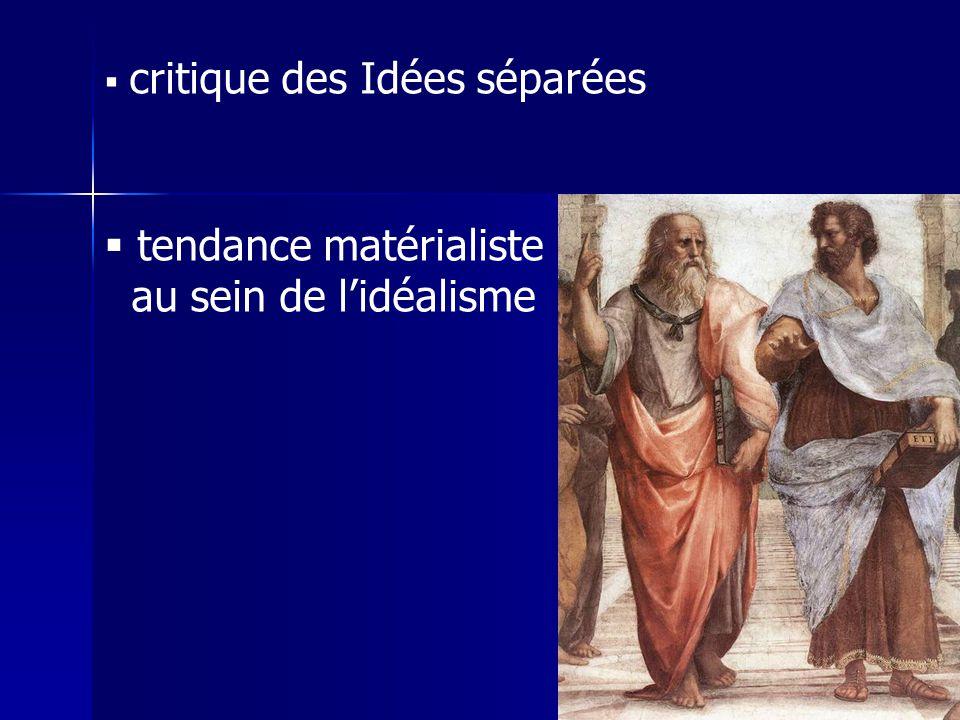 critique des Idées séparées tendance matérialiste au sein de lidéalisme