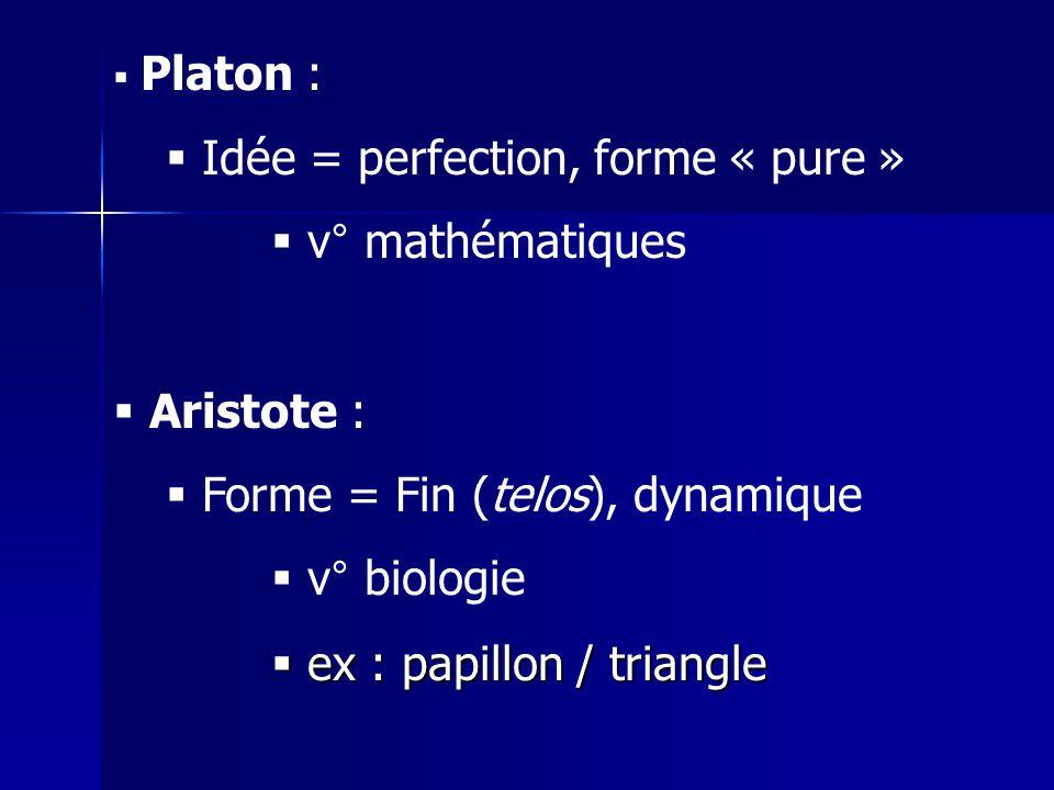 Platon : Idée = perfection, forme « pure » v° mathématiques Aristote : Forme = Fin (telos), dynamique v° biologie ex : papillon / triangle ex : papillon / triangle