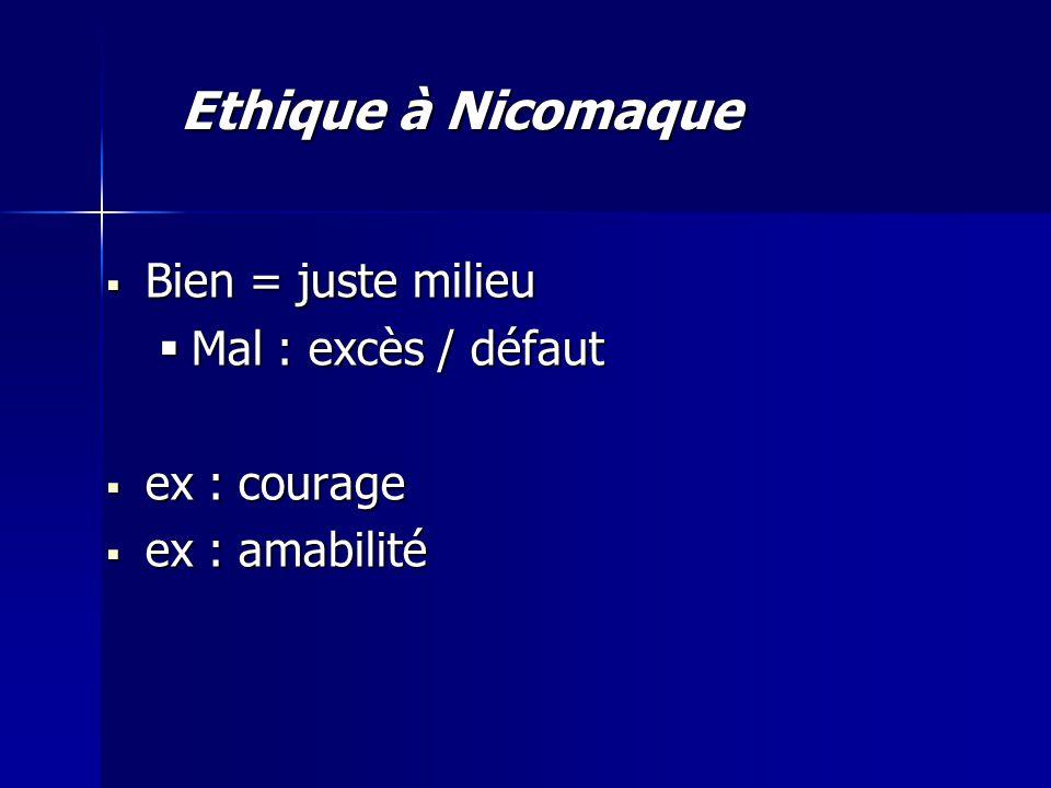 Bien = juste milieu Bien = juste milieu Mal : excès / défaut Mal : excès / défaut ex : courage ex : courage ex : amabilité ex : amabilité Ethique à Nicomaque