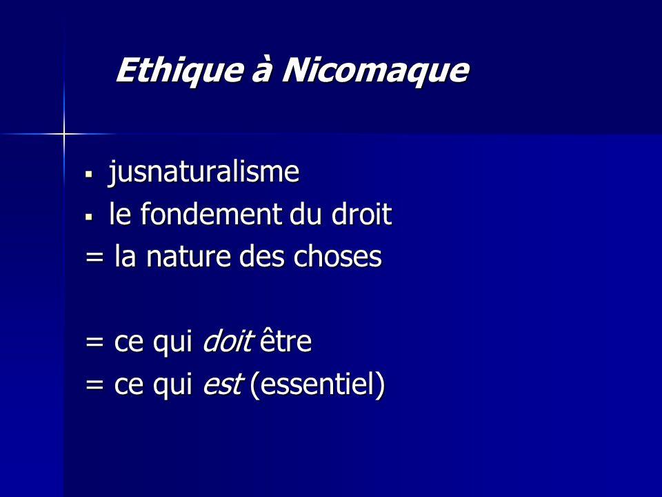 jusnaturalisme jusnaturalisme le fondement du droit le fondement du droit = la nature des choses = ce qui doit être = ce qui est (essentiel) Ethique à Nicomaque