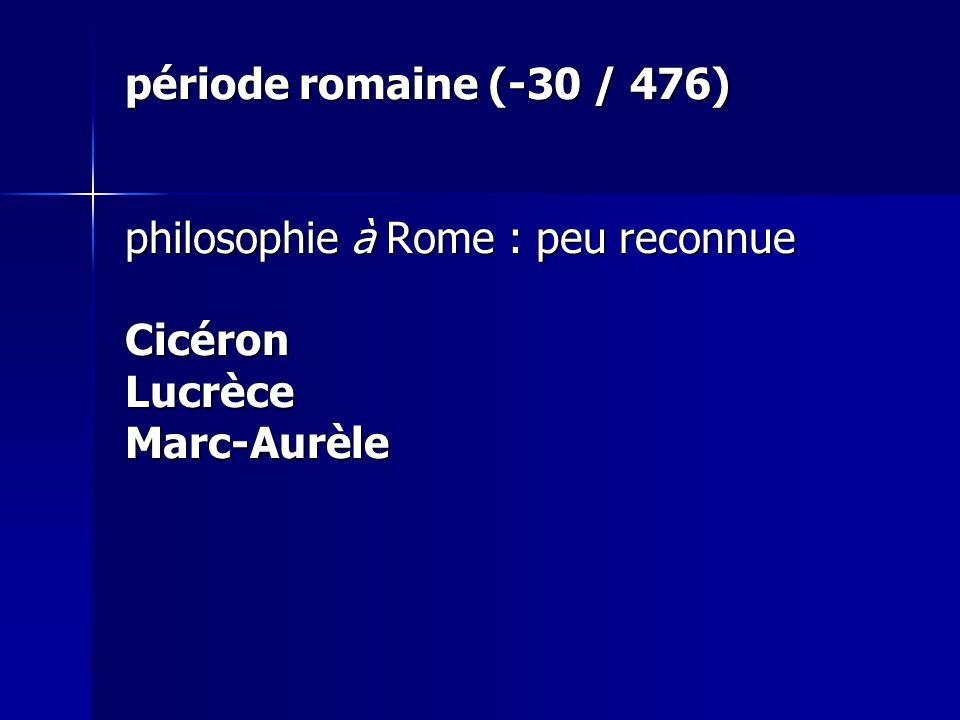 période romaine (-30 / 476) philosophie à Rome : peu reconnue Cicéron Lucrèce Marc-Aurèle