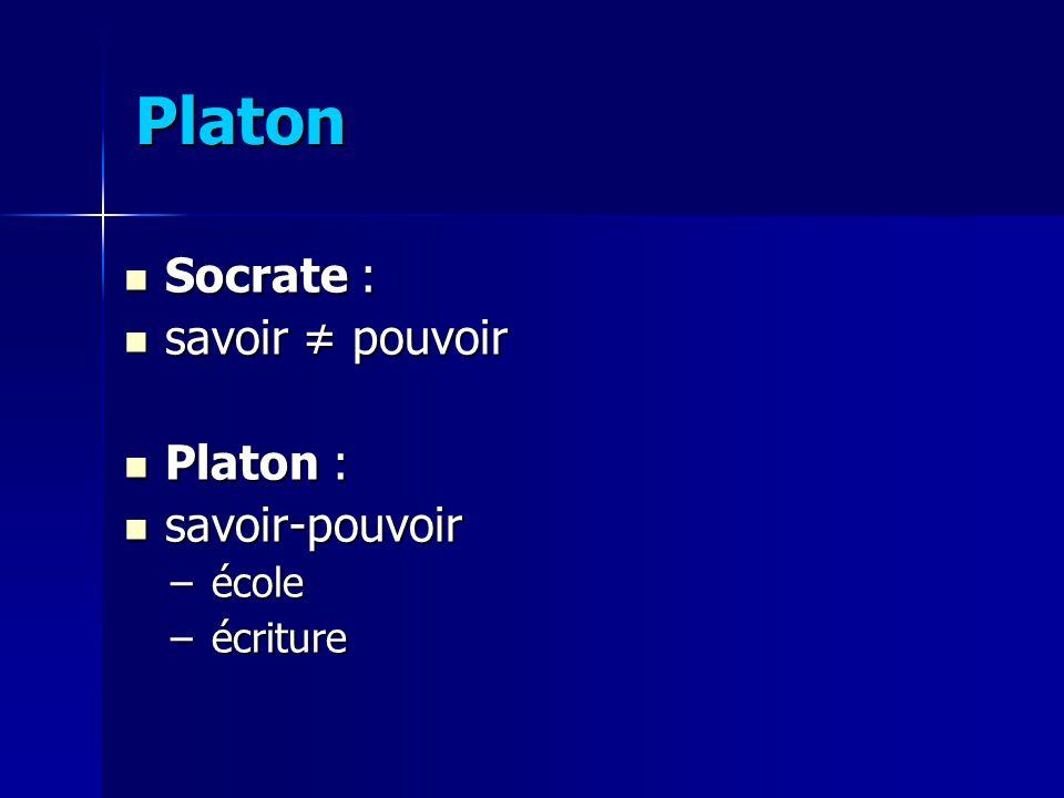 Socrate : Socrate : savoir pouvoir savoir pouvoir Platon : Platon : savoir-pouvoir savoir-pouvoir –école –écriture Platon