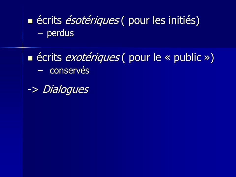 écrits ésotériques ( pour les initiés) écrits ésotériques ( pour les initiés) –perdus écrits exotériques ( pour le « public ») écrits exotériques ( pour le « public ») – conservés -> Dialogues