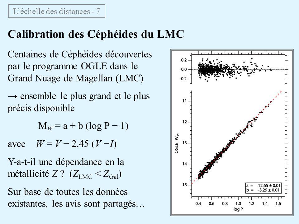 Calibration des Céphéides du LMC Centaines de Céphéides découvertes par le programme OGLE dans le Grand Nuage de Magellan (LMC) ensemble le plus grand
