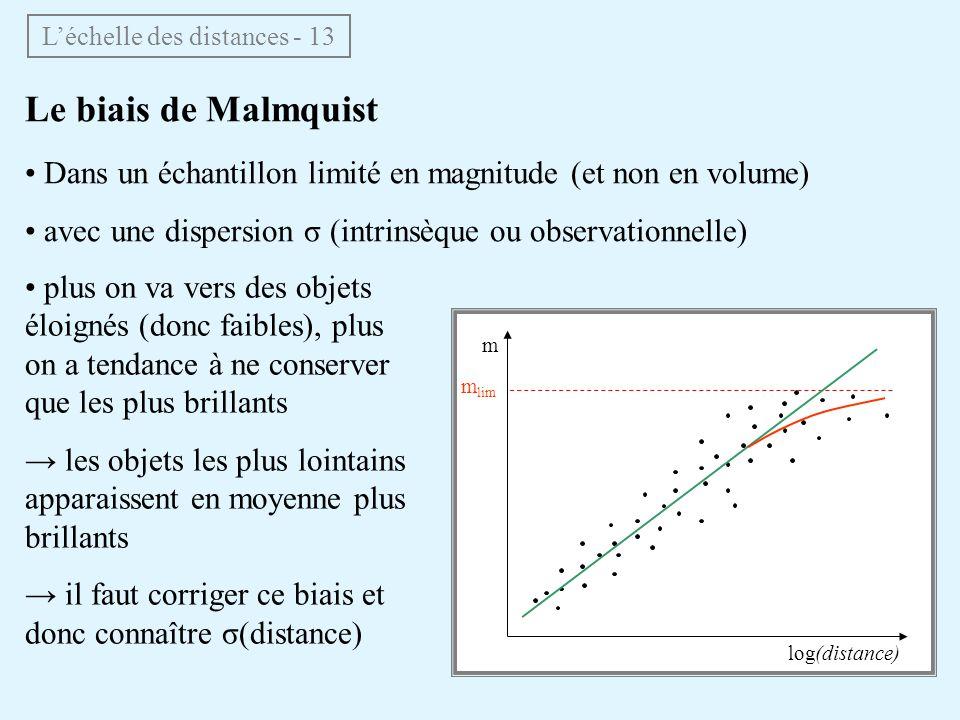 log(distance) m m m lim Le biais de Malmquist Dans un échantillon limité en magnitude (et non en volume) avec une dispersion σ (intrinsèque ou observa