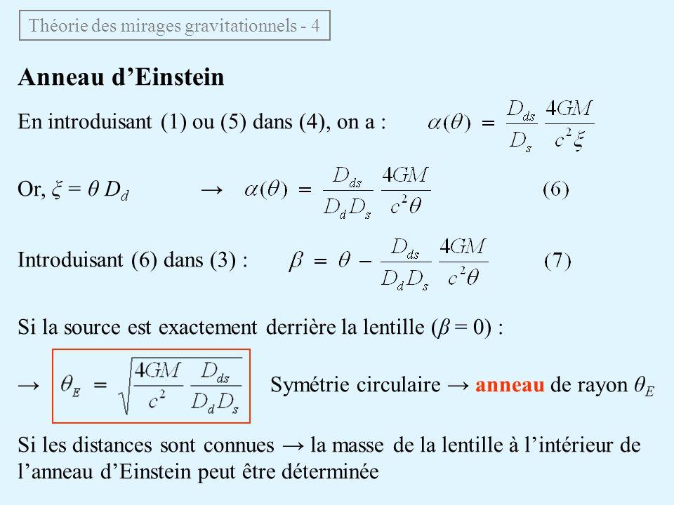 Théorie des mirages gravitationnels - 4 Anneau dEinstein En introduisant (1) ou (5) dans (4), on a : Or, ξ = θ D d Introduisant (6) dans (3) : Si la s