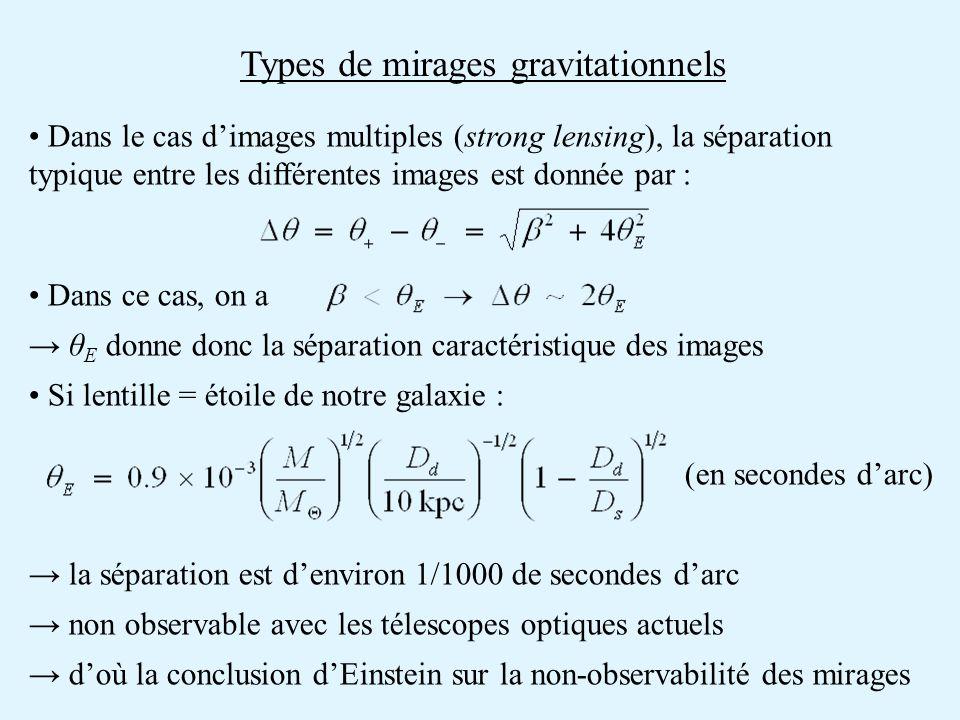 Types de mirages gravitationnels Dans le cas dimages multiples (strong lensing), la séparation typique entre les différentes images est donnée par : D