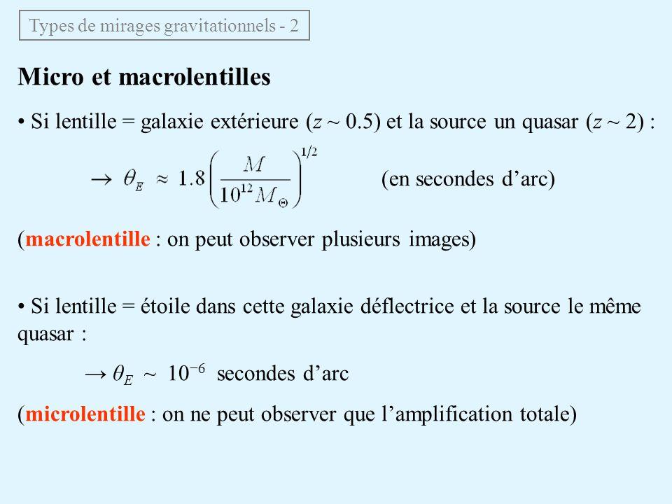 Types de mirages gravitationnels - 2 Micro et macrolentilles Si lentille = galaxie extérieure (z ~ 0.5) et la source un quasar (z ~ 2) : (en secondes