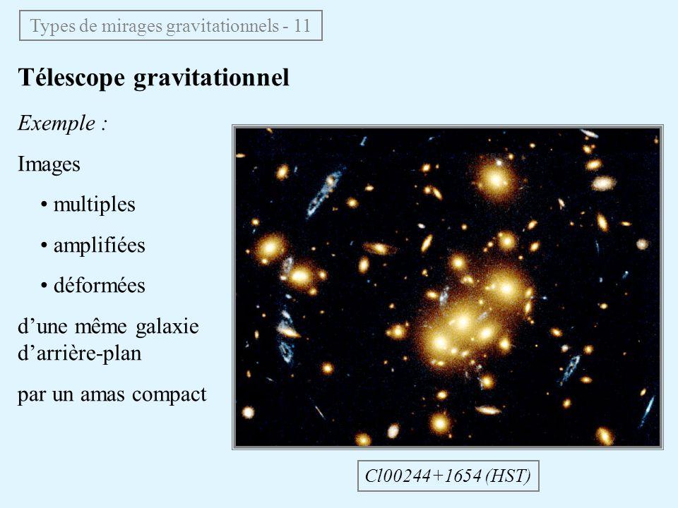 Télescope gravitationnel Cl00244+1654 (HST) Exemple : Images multiples amplifiées déformées dune même galaxie darrière-plan par un amas compact Types