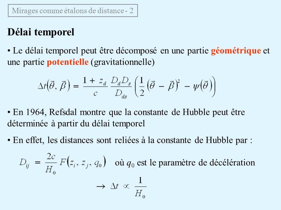 Délai temporel Le délai temporel peut être décomposé en une partie géométrique et une partie potentielle (gravitationnelle) En 1964, Refsdal montre qu