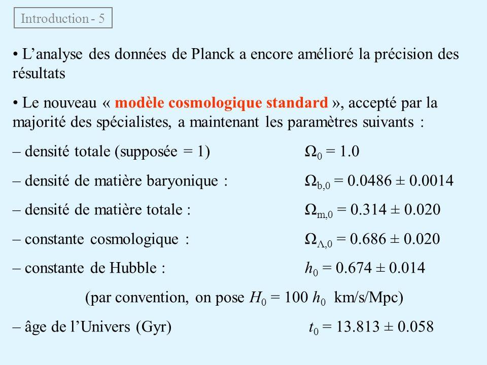 Lanalyse des données de Planck a encore amélioré la précision des résultats Le nouveau « modèle cosmologique standard », accepté par la majorité des s