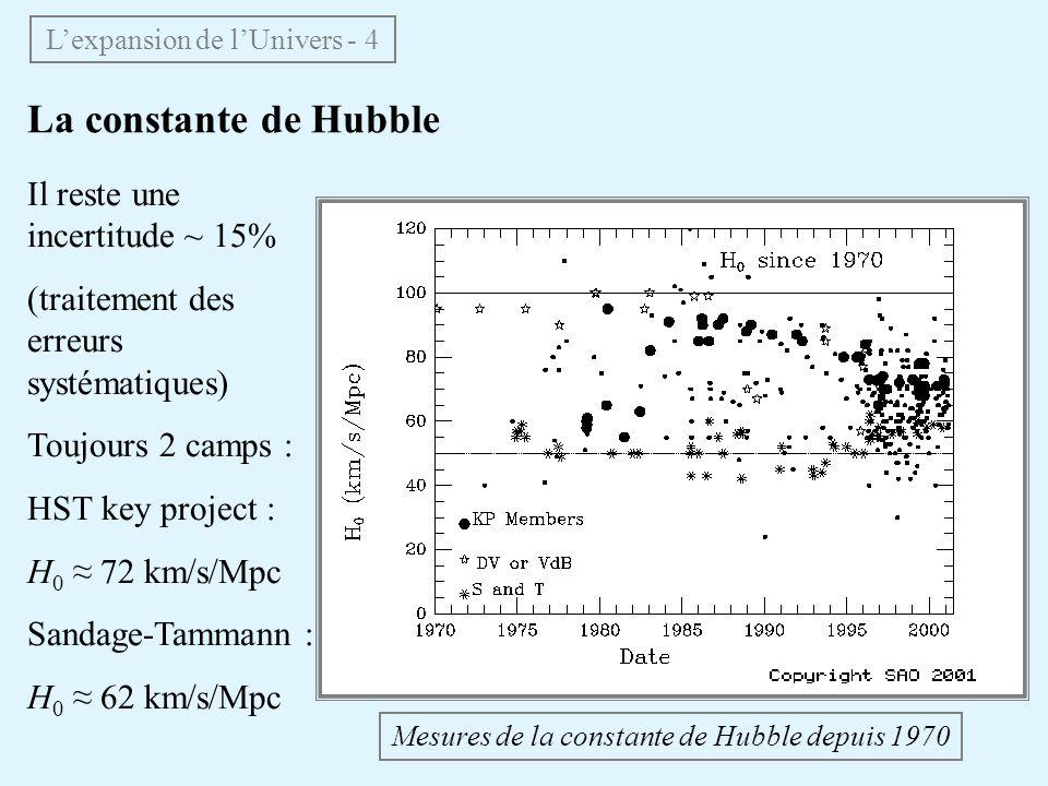 La constante de Hubble Mesures de la constante de Hubble depuis 1970 Il reste une incertitude ~ 15% (traitement des erreurs systématiques) Toujours 2