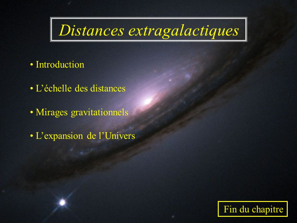 Distances extragalactiques Introduction Léchelle des distances Mirages gravitationnels Lexpansion de lUnivers Fin du chapitre