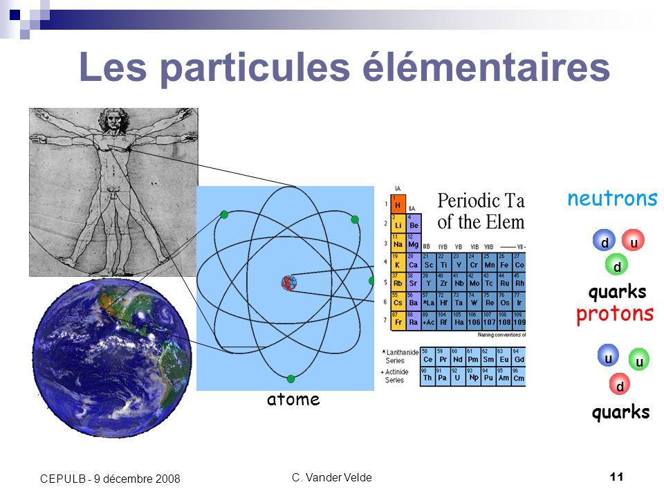 C. Vander Velde11 CEPULB - 9 décembre 2008 noyau électrons neutrons protons atome Les particules élémentaires u d d quarks u u d