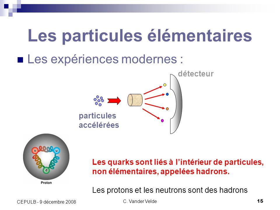 C. Vander Velde15 CEPULB - 9 décembre 2008 Les particules élémentaires Les expériences modernes : détecteur particules accélérées Les quarks sont liés