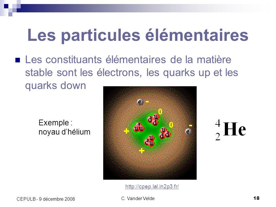 C. Vander Velde18 CEPULB - 9 décembre 2008 Les particules élémentaires Les constituants élémentaires de la matière stable sont les électrons, les quar