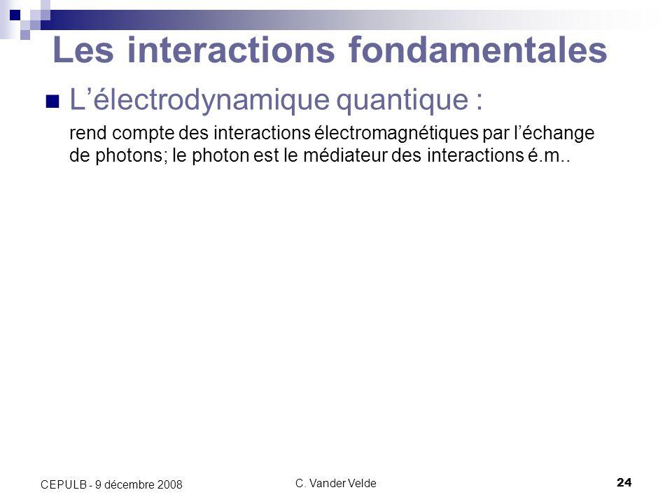 C. Vander Velde24 CEPULB - 9 décembre 2008 Les interactions fondamentales Lélectrodynamique quantique : rend compte des interactions électromagnétique