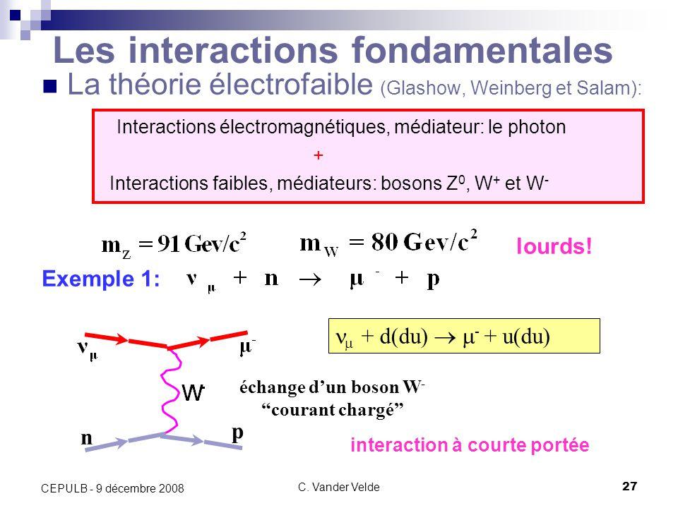 C. Vander Velde27 CEPULB - 9 décembre 2008 Les interactions fondamentales La théorie électrofaible (Glashow, Weinberg et Salam): Interactions électrom