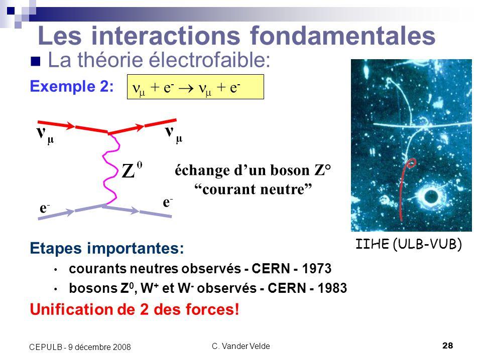 C. Vander Velde28 CEPULB - 9 décembre 2008 Les interactions fondamentales La théorie électrofaible: Exemple 2: Etapes importantes: courants neutres ob