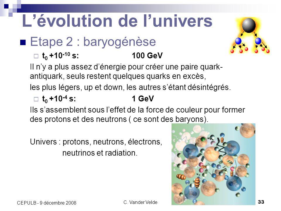 C. Vander Velde33 CEPULB - 9 décembre 2008 Lévolution de lunivers Etape 2 : baryogénèse t 0 +10 -10 s:100 GeV Il ny a plus assez dénergie pour créer u