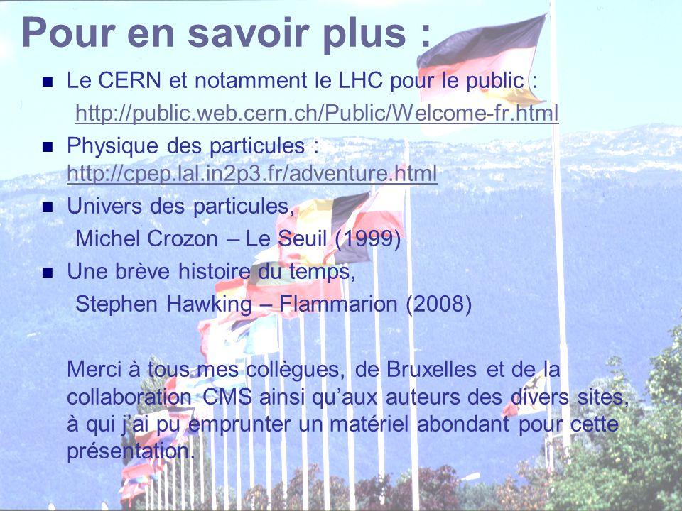 C. Vander Velde37 CEPULB - 9 décembre 2008 Pour en savoir plus : Le CERN et notamment le LHC pour le public : http://public.web.cern.ch/Public/Welcome