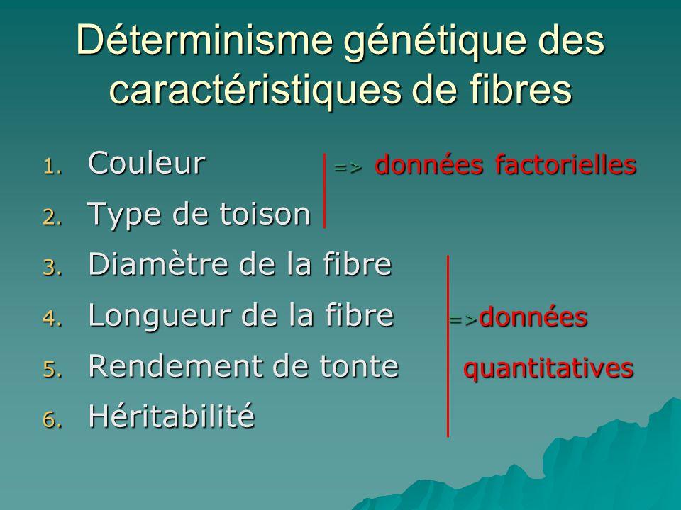 Déterminisme génétique des caractéristiques de fibres 1. Couleur => données factorielles 2. Type de toison 3. Diamètre de la fibre 4. Longueur de la f