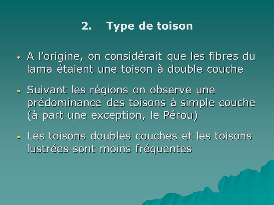 2. 2.Type de toison A lorigine, on considérait que les fibres du lama étaient une toison à double couche A lorigine, on considérait que les fibres du