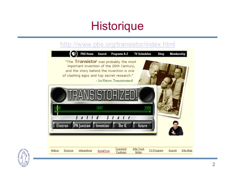 2 Historique http://www.pbs.org/transistor/index.html