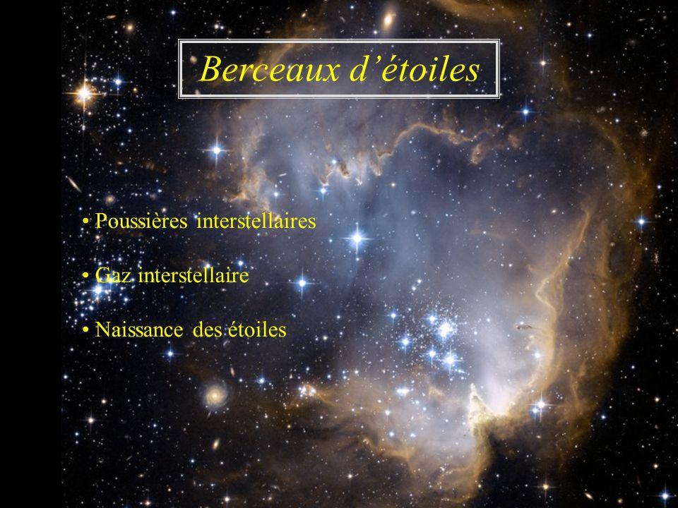 Poussières interstellaires Gaz interstellaire Naissance des étoiles Berceaux détoiles