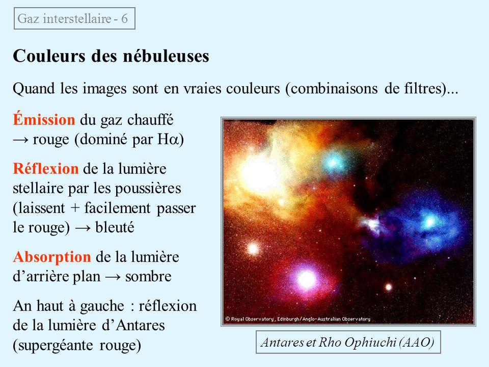 Couleurs des nébuleuses Quand les images sont en vraies couleurs (combinaisons de filtres)... Gaz interstellaire - 6 Antares et Rho Ophiuchi (AAO) Émi