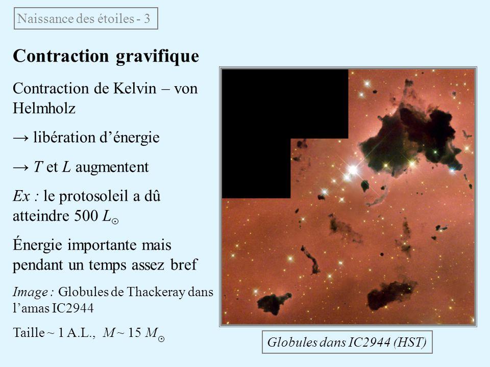 Contraction gravifique Contraction de Kelvin – von Helmholz libération dénergie T et L augmentent Ex : le protosoleil a dû atteindre 500 L Énergie imp