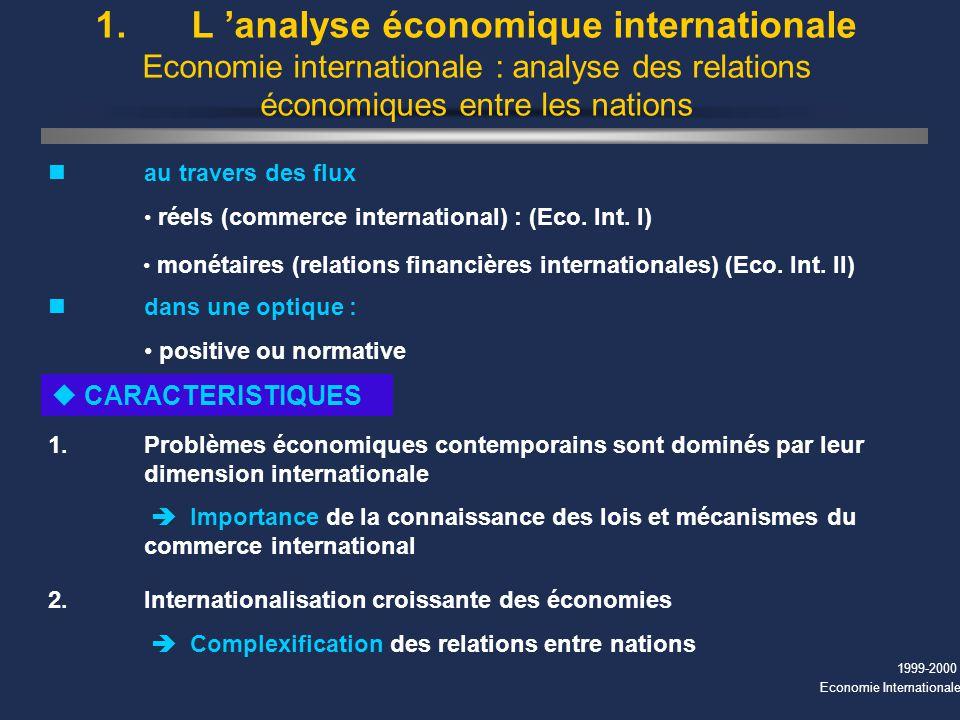 1999-2000 Economie Internationale 1. L analyse économique internationale Economie internationale : analyse des relations économiques entre les nations