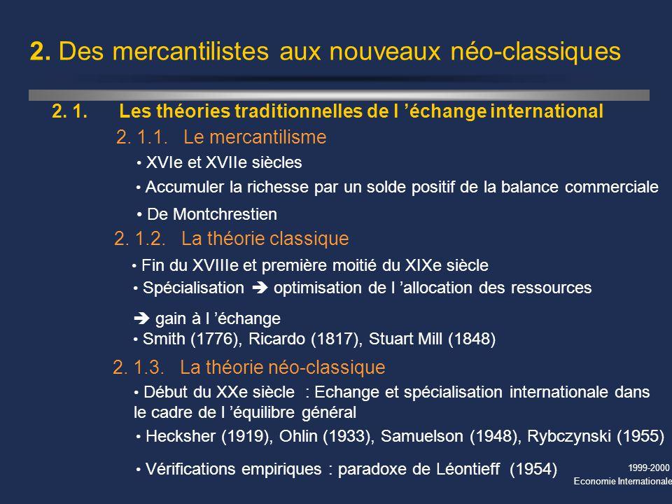 1999-2000 Economie Internationale 2. Des mercantilistes aux nouveaux néo-classiques XVIe et XVIIe siècles 2. 1.Les théories traditionnelles de l échan