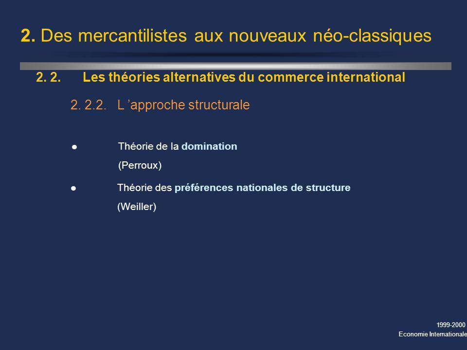 1999-2000 Economie Internationale 2. Des mercantilistes aux nouveaux néo-classiques 2. 2.Les théories alternatives du commerce international l Théorie