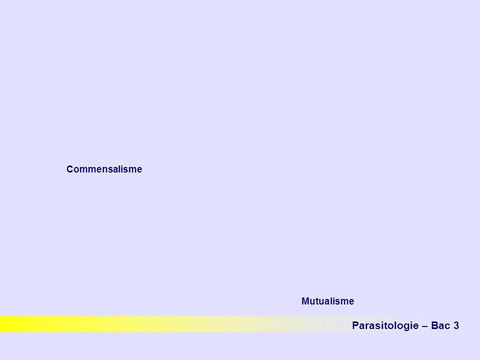 Parasitologie – Bac 3 Commensalisme Mutualisme