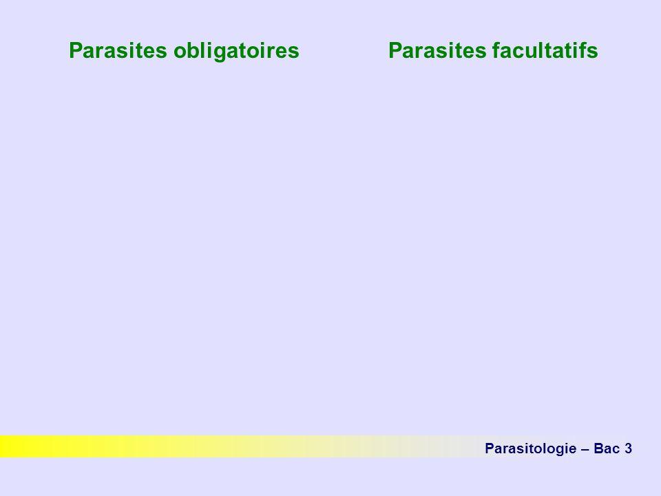 Parasites obligatoires Parasites facultatifs Parasitologie – Bac 3