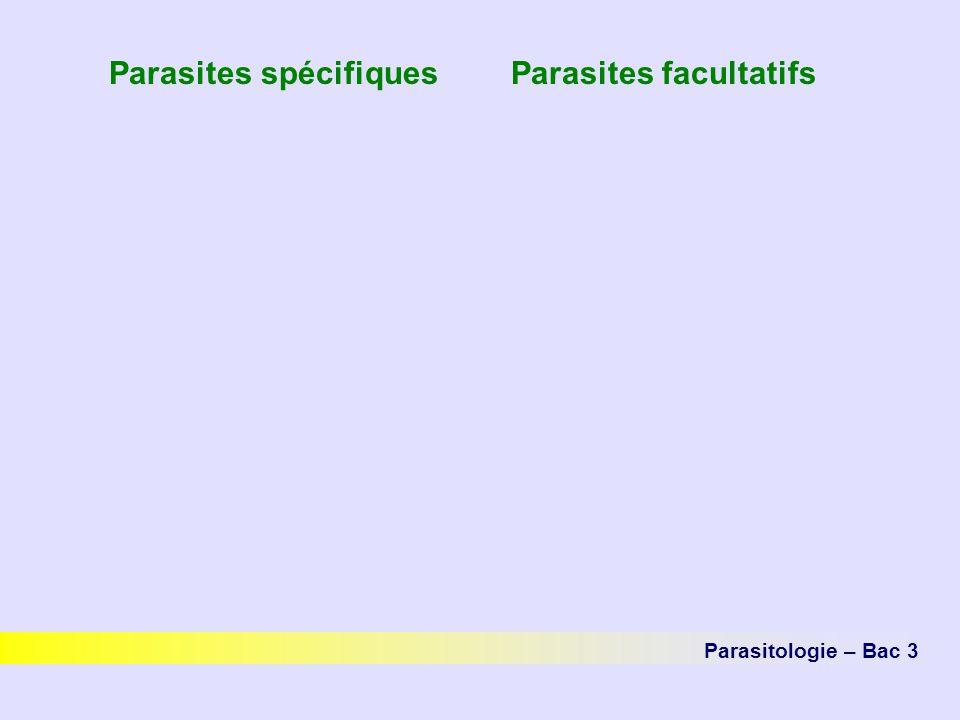 Parasites spécifiques Parasites facultatifs Parasitologie – Bac 3