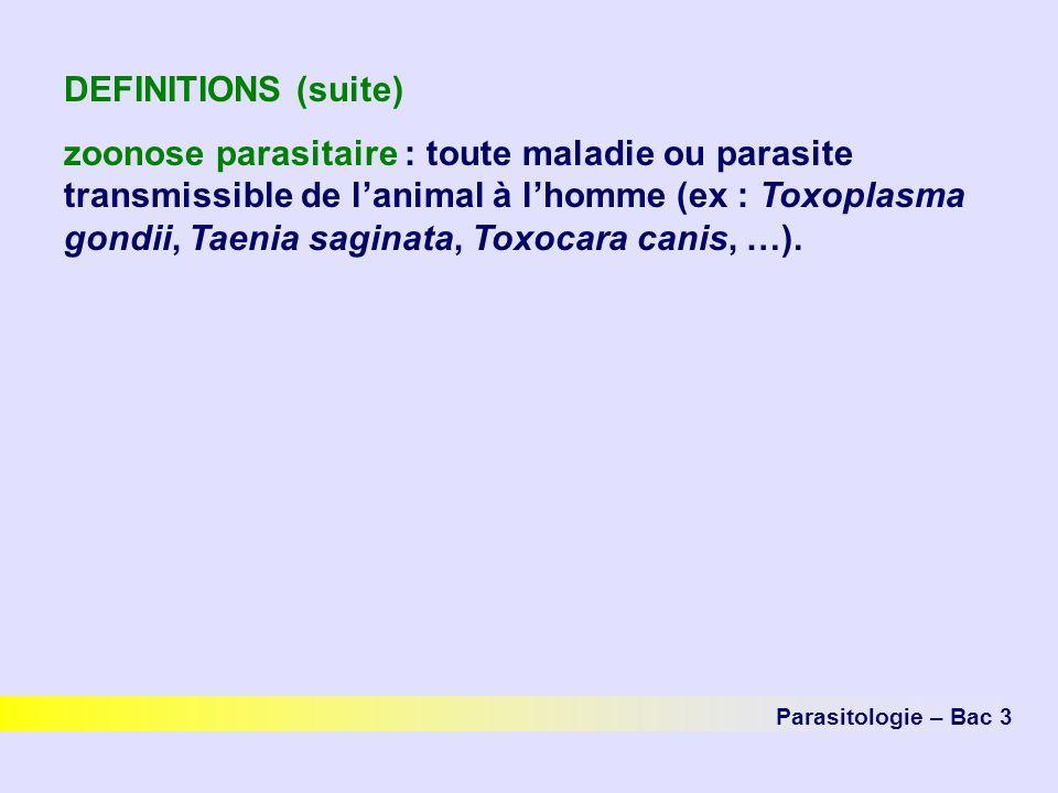 DEFINITIONS (suite) zoonose parasitaire : toute maladie ou parasite transmissible de lanimal à lhomme (ex : Toxoplasma gondii, Taenia saginata, Toxoca