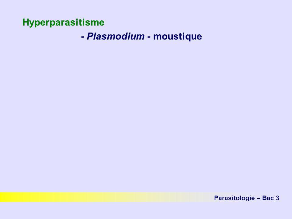 Hyperparasitisme - Plasmodium - moustique Parasitologie – Bac 3